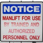 """NOTICE, etc."" 14 x 20"" Manlfit Sign - Part No. 7AF003"